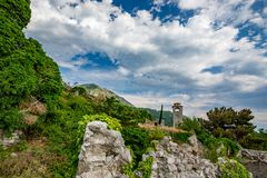 Ruins of ancient fortress, town of Bar, Montenegro royalty free stock image
