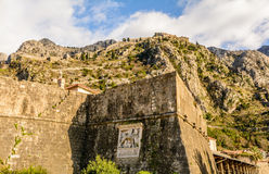 The ruins of the ancient fortress wall in Kotor Stock Image