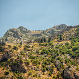 The ruins of the ancient fortress wall in Kotor Royalty Free Stock Photography
