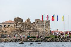 Ruins of an ancient fortress wall at the old town of Nesebar. Royalty Free Stock Photography