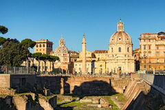 Ruins of ancient Forum of Augustus near Roman Forum in Rome, Italy Stock Images