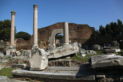 Ruins of the ancient Forum in Rome. Columns and fragments of marbles, remnants of glorious buildings in the ancient Forum of Rome royalty free stock photo