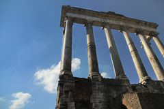 Ruins of the ancient Forum in Rome Stock Image