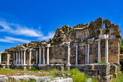 Ruins of ancient fountain in Side, Turkey royalty free stock photography