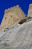 Ruins of an ancient Genoa Fortress on a mountain in Sudak, Crimea, Ukraine Stock Photo