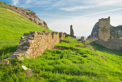 Ruins of ancient Genoese fortress in Sudak Stock Photos