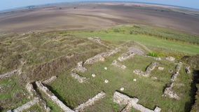 The ruins of the ancient Geto-Dacian settlement Dinogetia, aerial view stock video footage
