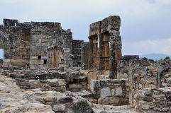 Ruins - Ancient Greco-Roman and Byzantine city of  Hierapolis Royalty Free Stock Images