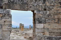 Ruins - Ancient Greco-Roman and Byzantine city of  Hierapolis Royalty Free Stock Photo
