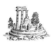 Ruins of ancient Greece. Greek columns, landscape in vintage style. Hand drawn engraved vintage sketch for poster. Banner or web site royalty free illustration