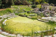 Ruins of the ancient Greek buildings in the historic part of Syracuse Stock Photos