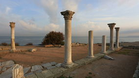 Ruins of the Ancient Greek city of Chersonese early in the morning stock video footage