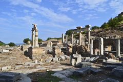 Ruins of the ancient greek city Ephesus royalty free stock image