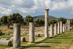Ruins of the ancient Greek city of Messinia & x28;Messini, Messenia& x29; Royalty Free Stock Photo