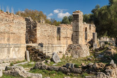 Ruins of the ancient Greek city of Olympia, Peloponnese. Greece Royalty Free Stock Images