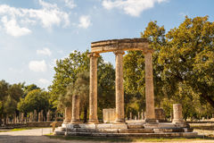 Ruins of the ancient Greek city of Olympia, Peloponnese. Greece royalty free stock photography