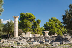 Ruins of the ancient Greek city of Olympia, Peloponnese. Greece Stock Images