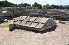 Ruins of ancient greek city Paestum, Italy. Royalty Free Stock Photos