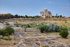 Ruins of ancient Greek colony Khersones Royalty Free Stock Images