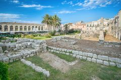 Ruins of the ancient greek doric temple of Apollo in Siracusa Royalty Free Stock Images