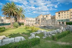 Ruins of the ancient greek doric temple of Apollo in Siracusa Royalty Free Stock Image