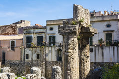 Ruins of the ancient greek doric temple of Apollo in Siracusa Royalty Free Stock Photography