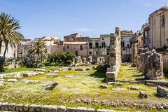 Ruins of the ancient greek doric temple of Apollo in Siracusa Royalty Free Stock Photo