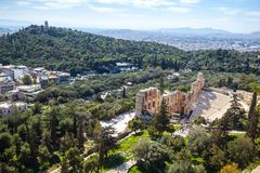 Ruins of the ancient greek historical monument - Theater of Dion. Ysos, part of Athenian Acropolis in Athens, Greece stock photos