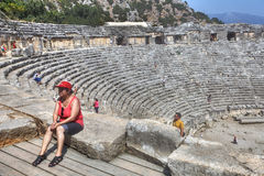 Ruins of ancient Greek-Roman amphitheatre in Myra, Lycia, Demre, Royalty Free Stock Photos