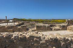 Ruins of the ancient Greek and Roman city of Paphos. Famous,. Archeology. Cyprus Island . Europe . Mosaic on the floor royalty free stock images