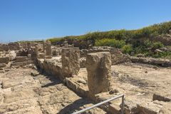Ruins of the ancient Greek and Roman city of Paphos. Famous,. Archeology. Cyprus Island . Europe . Mosaic on the floor royalty free stock photo