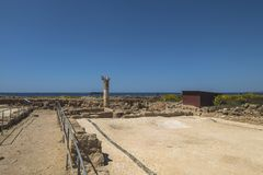 Ruins of the ancient Greek and Roman city of Paphos. Famous,. Archeology. Cyprus Island . Europe . Mosaic on the floor stock photos