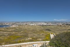 Ruins of the ancient Greek and Roman city of Paphos. Famous,. Archeology. Cyprus Island . Europe . And Pafos city in the backgrund royalty free stock images