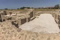 Ruins of the ancient Greek and Roman city of Paphos. Famous,. Archeology. Cyprus Island . Europe royalty free stock photo