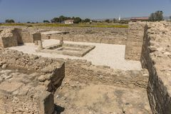 Ruins of the ancient Greek and Roman city of Paphos. Famous,. Archeology. Cyprus Island . Europe stock image