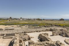 Ruins of the ancient Greek and Roman city of Paphos. Famous,. Archeology. Cyprus Island . Europe royalty free stock image