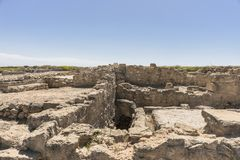 Ruins of the ancient Greek and Roman city of Paphos. Famous,. Archeology. Cyprus Island . Europe stock images