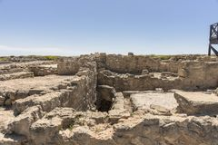 Ruins of the ancient Greek and Roman city of Paphos. Famous,. Archeology. Cyprus Island . Europe royalty free stock images