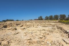 Ruins of the ancient Greek and Roman city of Paphos. Famous,. Archeology. Cyprus Island . Europe . Museum in Pafos royalty free stock images