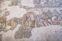 Ruins of the ancient Greek and Roman city of Paphos. Famous,. Archeology. Cyprus Island . Europe . Mosaic on the floor royalty free stock photography