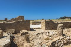Ruins of the ancient Greek and Roman city of Paphos. Famous,. Archeology. Cyprus Island . Europe . Museum in Pafos royalty free stock photo
