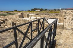 Ruins of the ancient Greek and Roman city of Paphos. Famous,. Archeology. Cyprus Island . Europe . Museum in Pafos stock photo