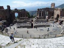 Ruins of ancient greek and roman theatre in Taormina Royalty Free Stock Images