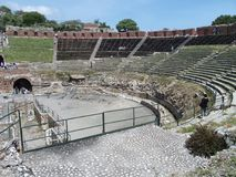 Ruins of ancient greek and roman theatre in Taormina Stock Image