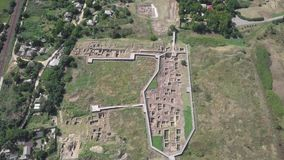 Ruins of Ancient Greek Tanais City in Russia. Archeological Site. Aerial View shot with a DJI Mavic fps 29,97 4k stock video