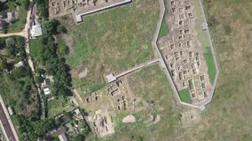 Ruins of Ancient Greek Tanais City in Russia. Archeological Site. Aerial View shot with a DJI Mavic fps 29,97 4k stock video footage