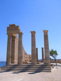 Ruins of ancient Greek temple. With columns in summer day. Lindos, Rhodes Royalty Free Stock Photography