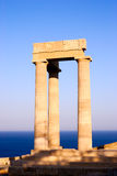 Ruins of a ancient greek temple. Lindos. Rhodes island. Greece Stock Photos