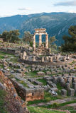 Ruins of an ancient greek temple of Apollo at Delphi, Greece Stock Photo