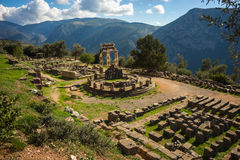 Ruins of an ancient greek temple of Apollo at Delphi, Greece Stock Images